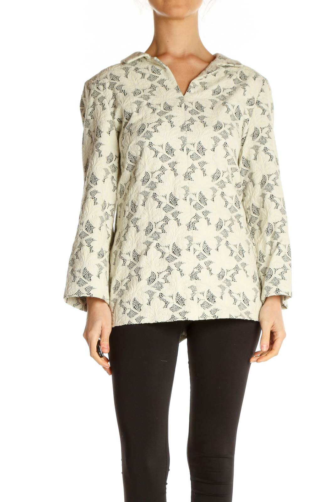 Beige Printed All Day Wear Blouse Front