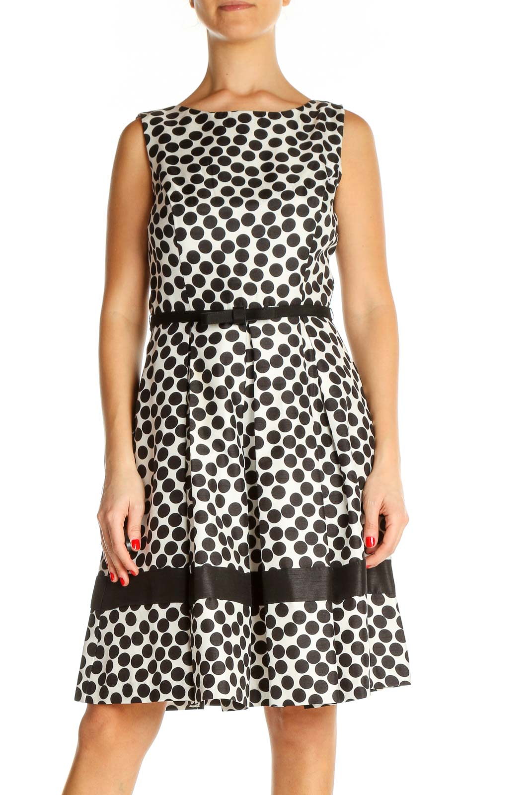 White Polka Dot Day Fit & Flare Dress Front