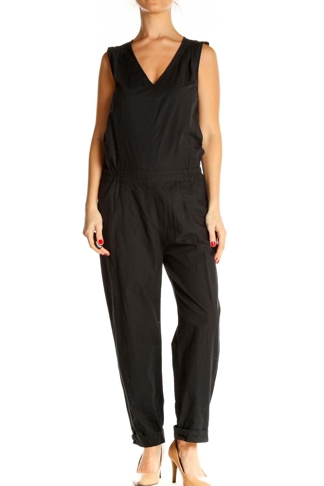Black Solid Jumpsuit Front