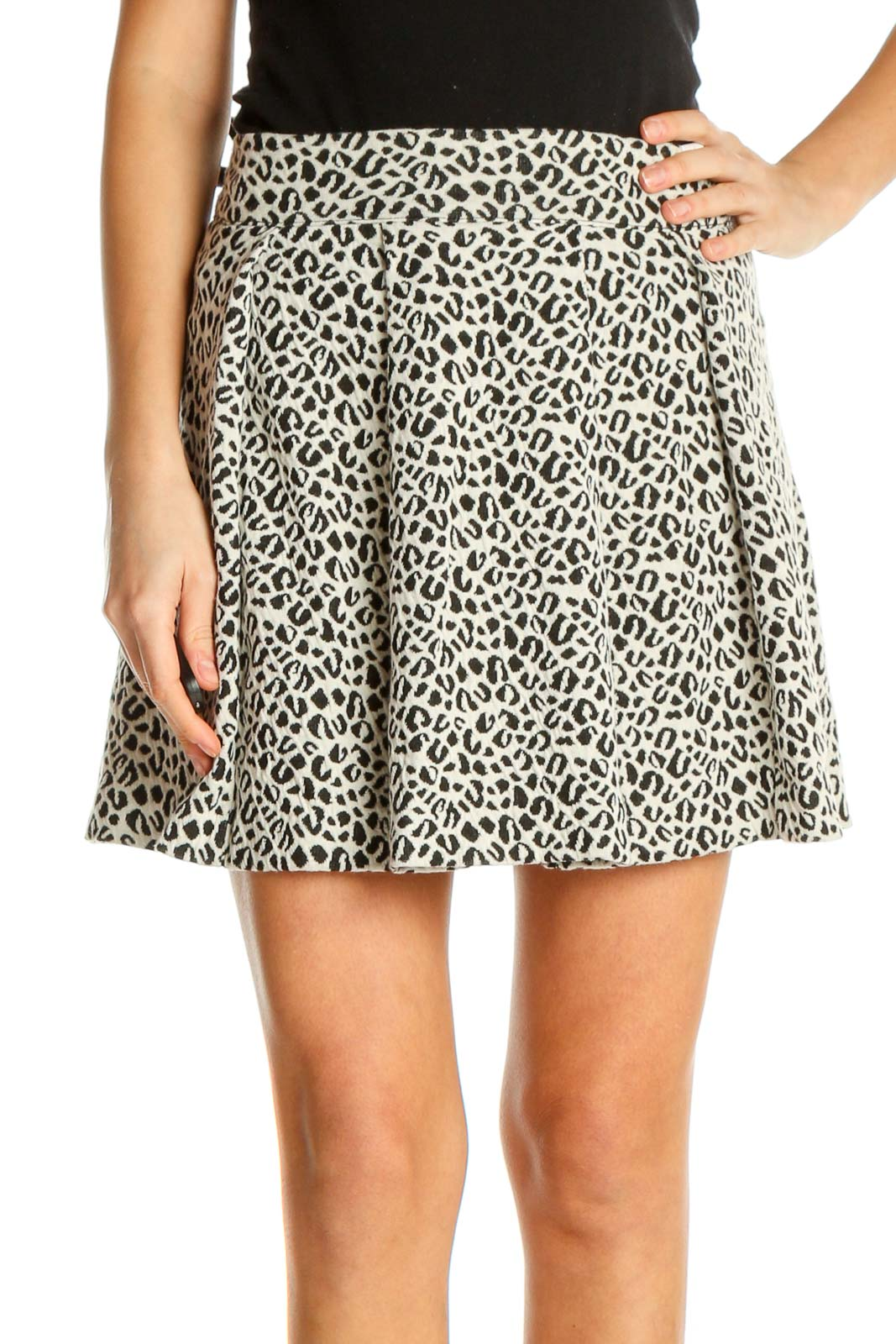 White Printed Holiday A-Line Skirt Front