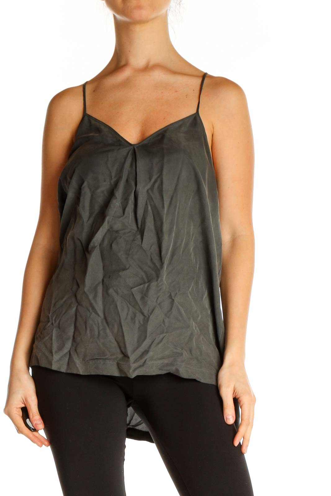Gray Solid Casual Top Front