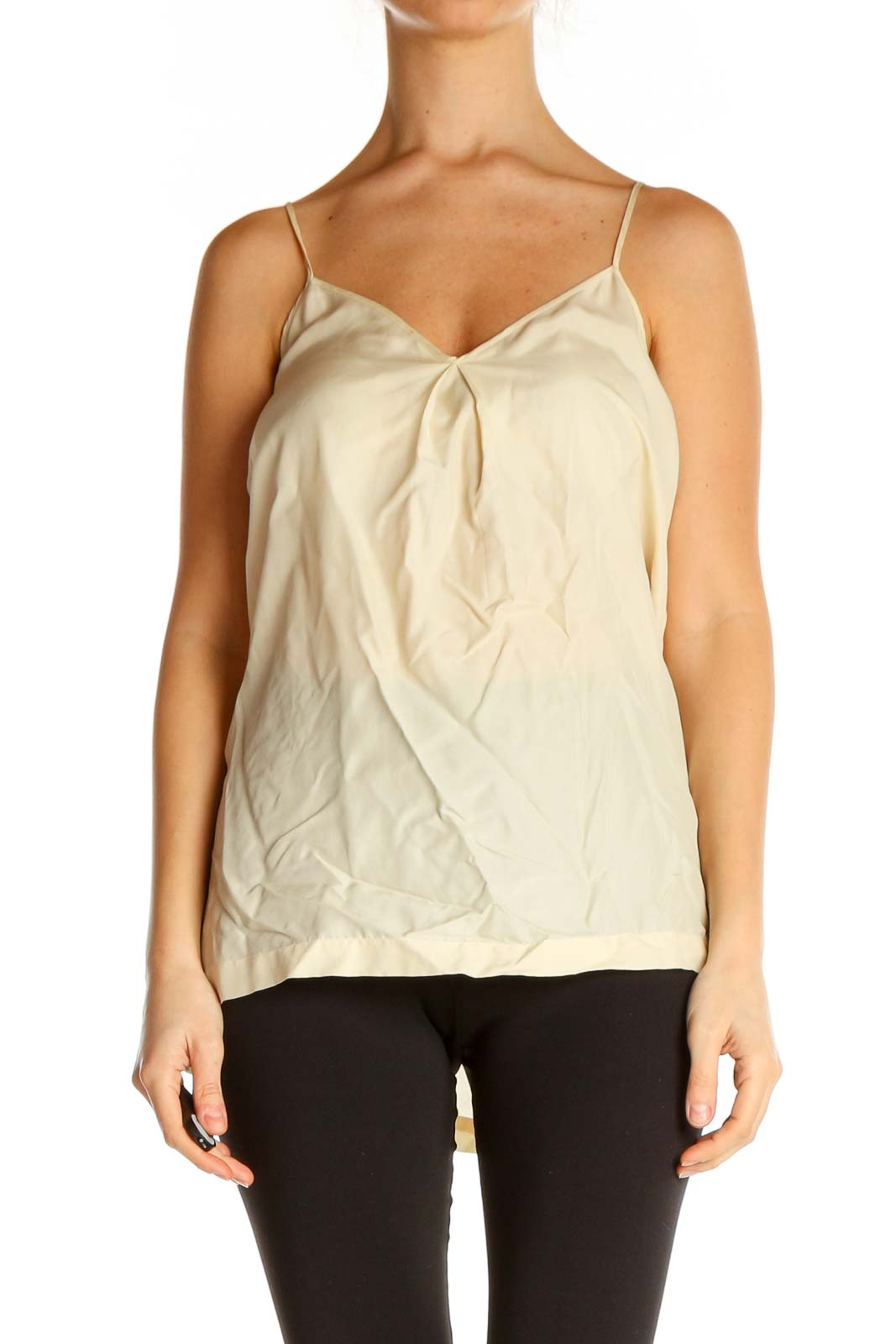 Beige Solid Chic Top Front