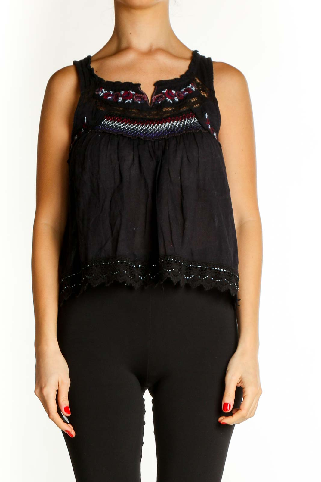 Black Sequin Casual Blouse Front