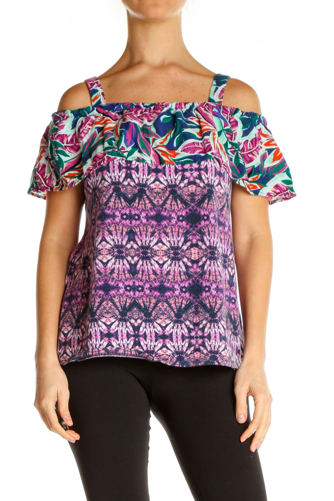 Purple Printed Holiday Blouse Front