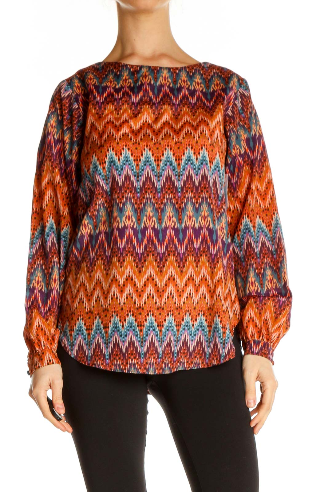 Orange Chevron All Day Wear Blouse Front