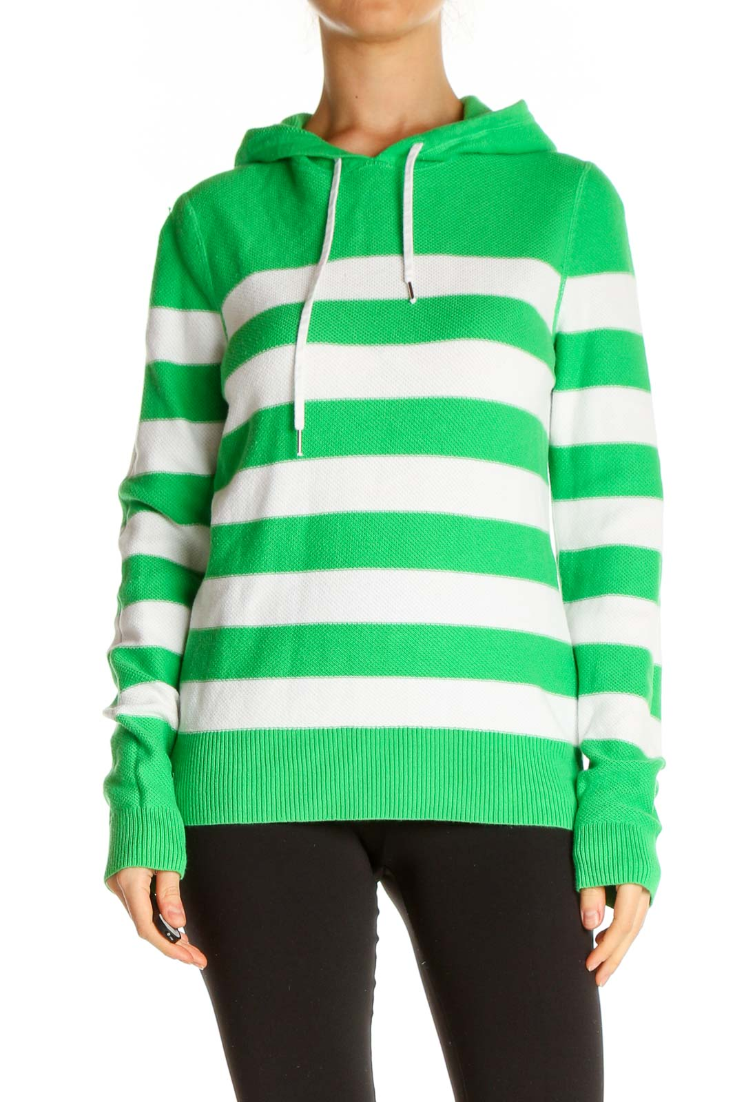 Green Striped All Day Wear Sweater Front
