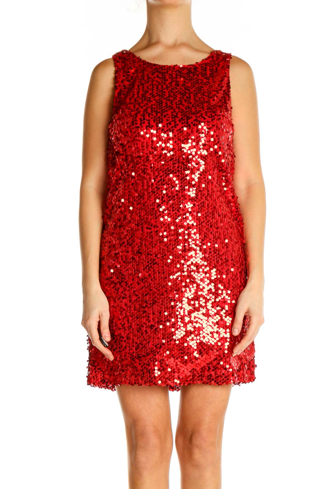 Red Sequin Cocktail A-Line Dress Front