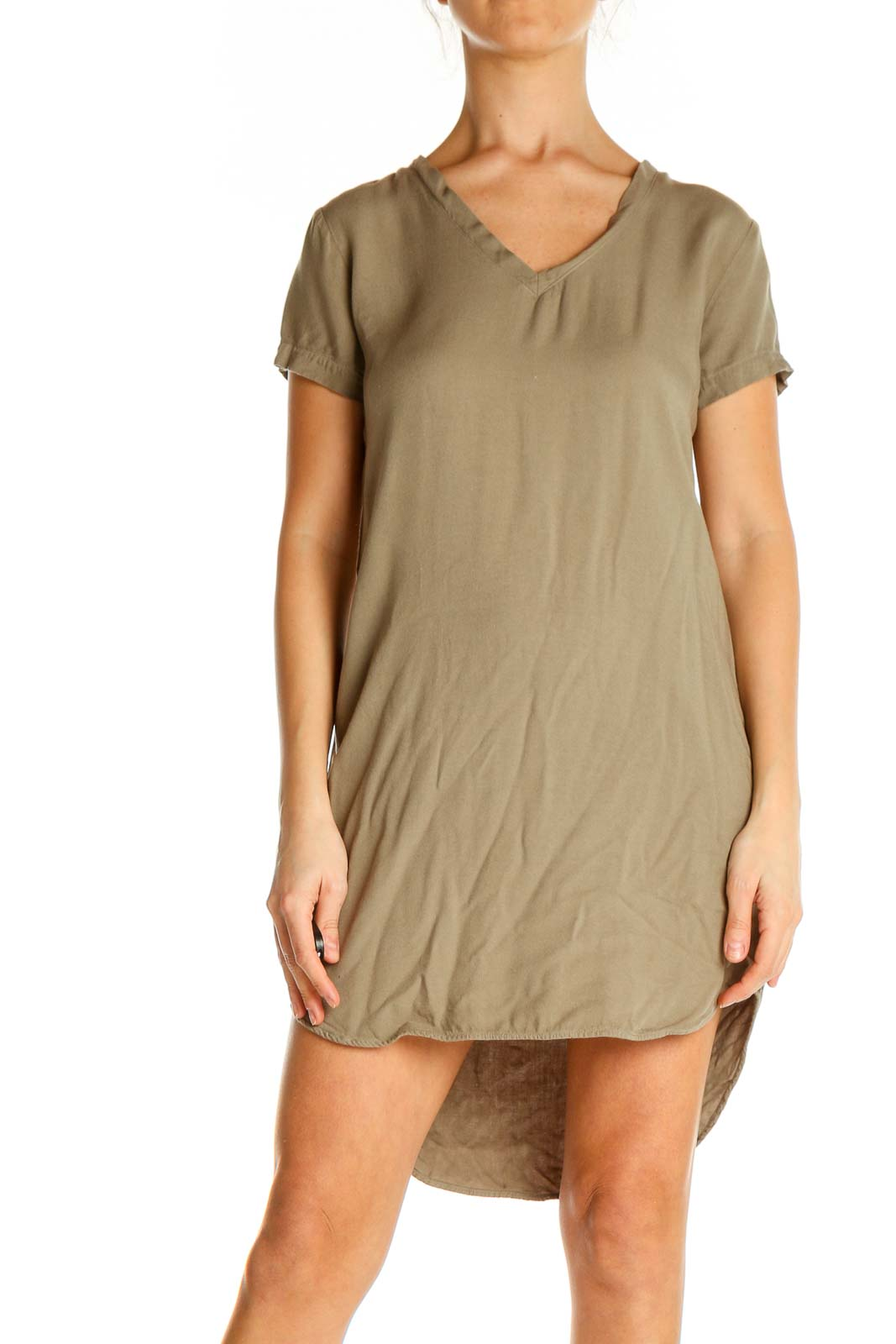 Brown Solid Classic Shift Dress Front