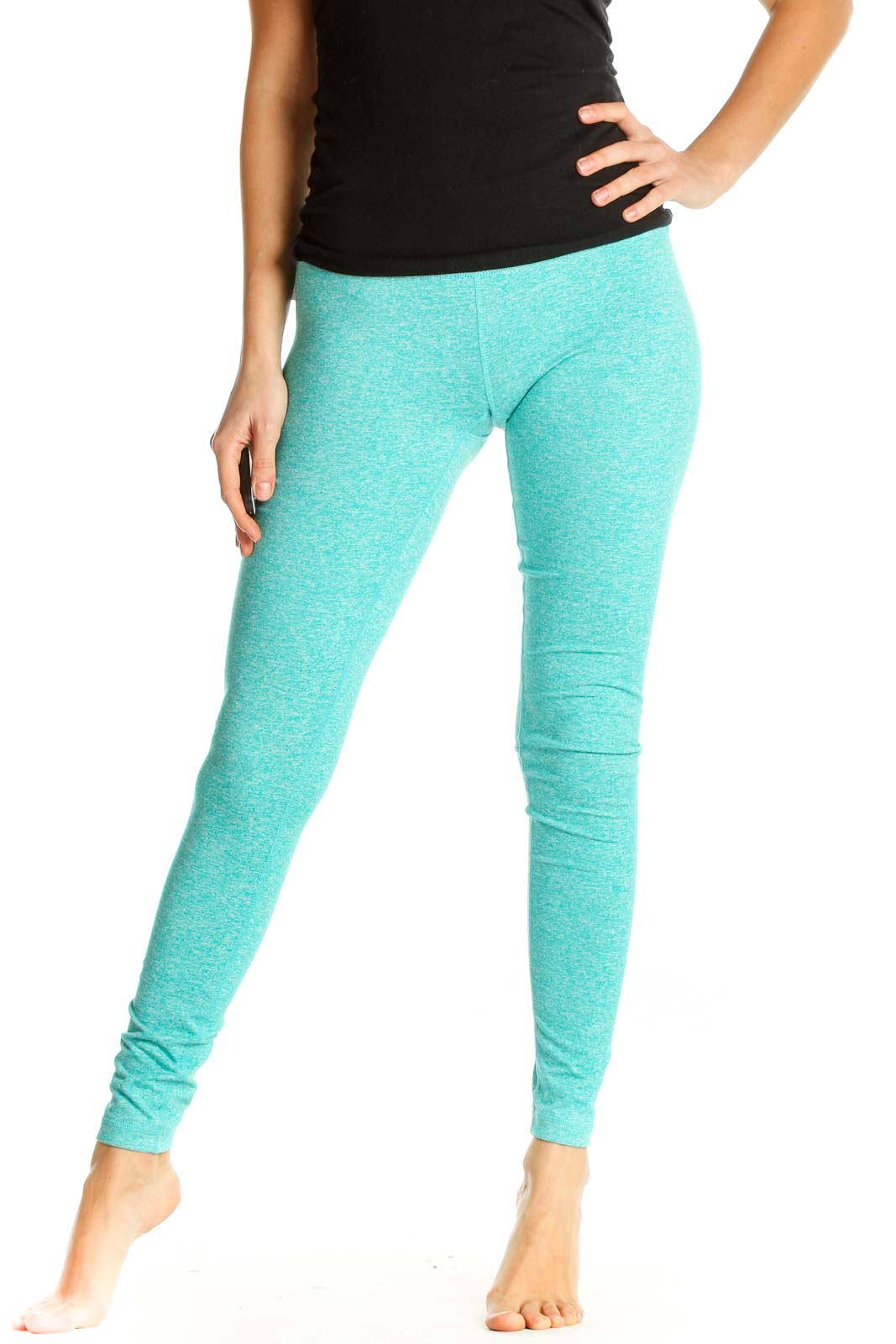 Blue Printed Activewear Leggings Front