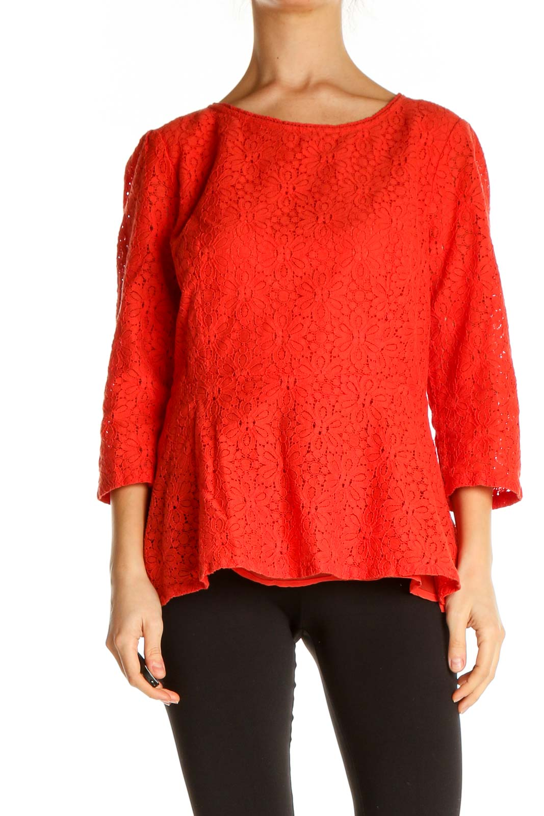 Red Textured All Day Wear Blouse Front