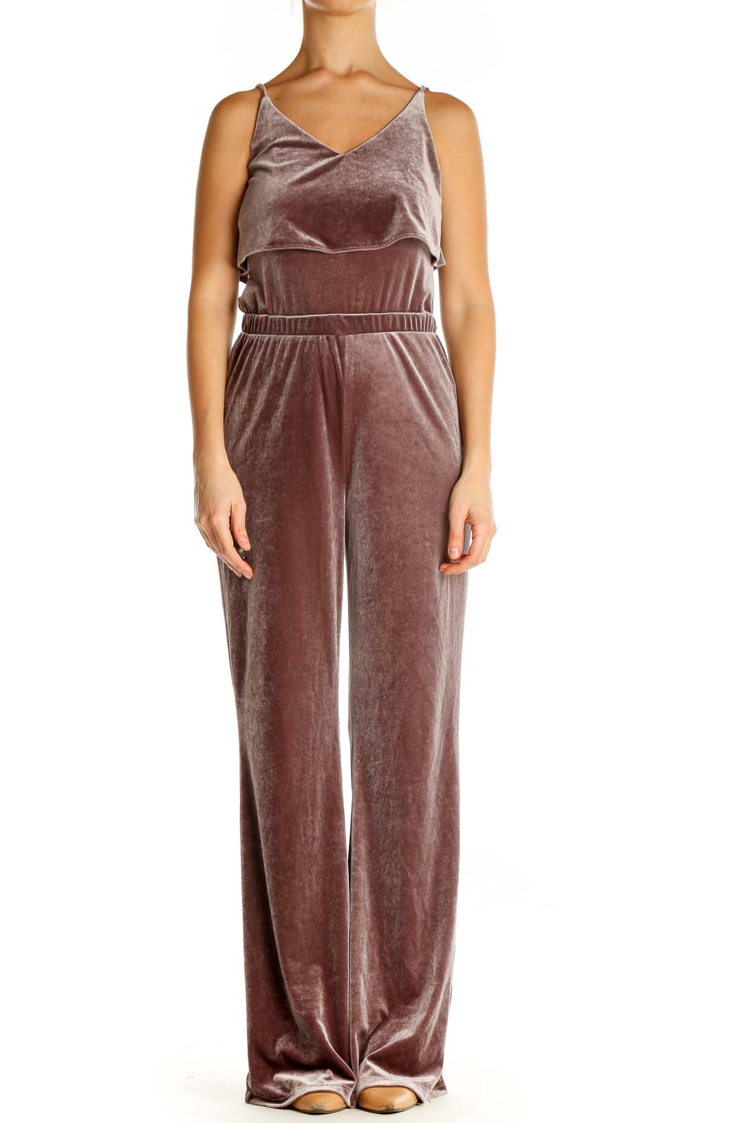 Brown Textured Jumpsuit Front