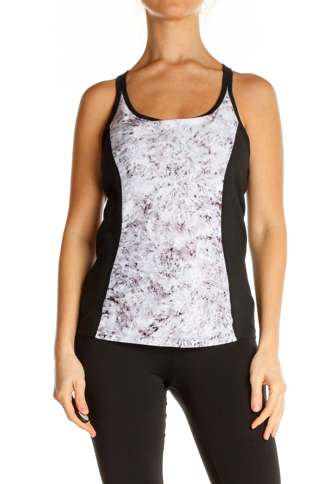 White Printed Activewear Top Front