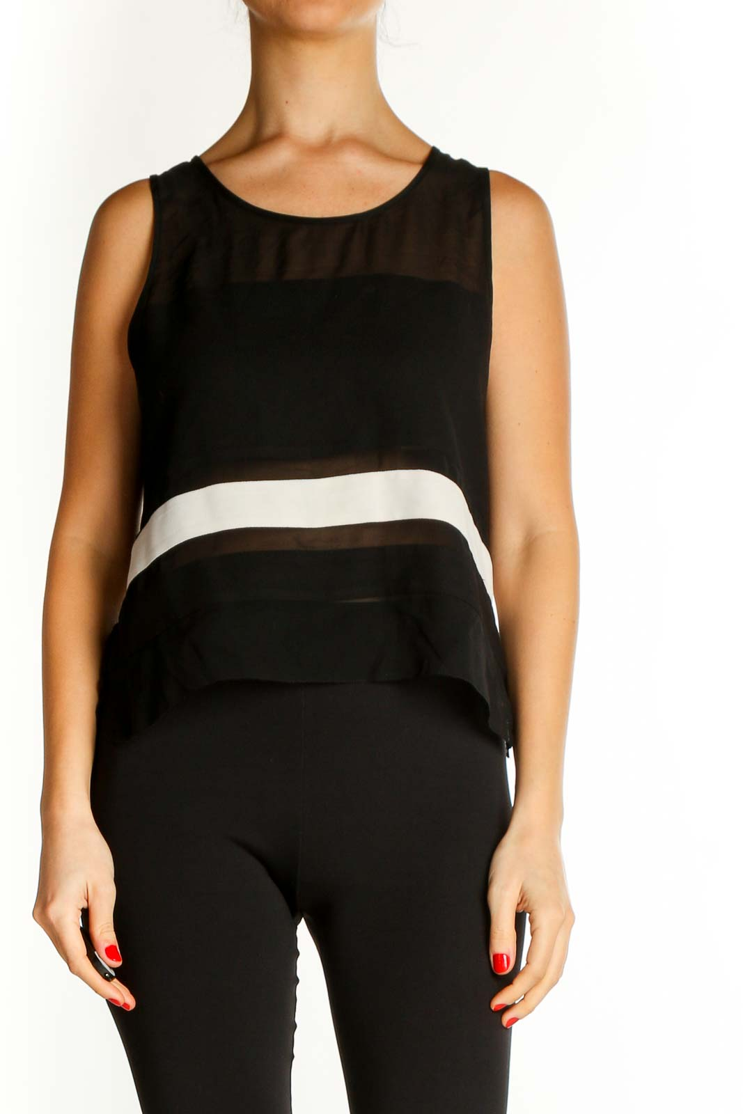 Black Solid Casual Tank Top Front