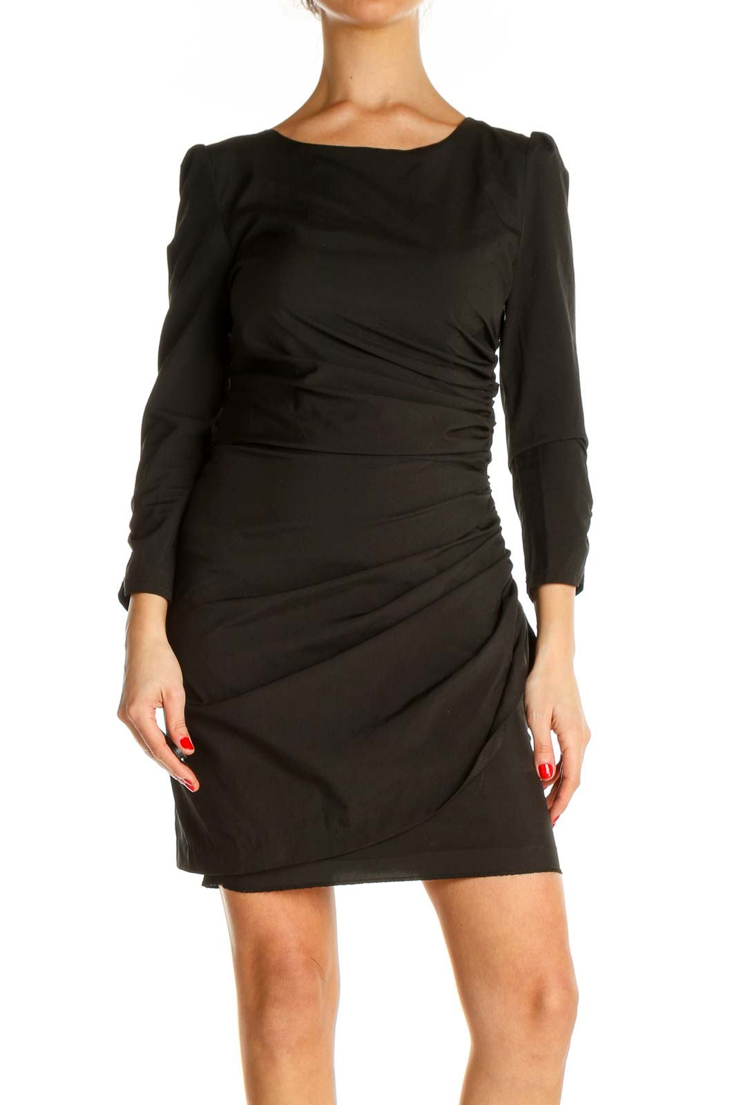 Black Solid Classic Sheath Dress Front