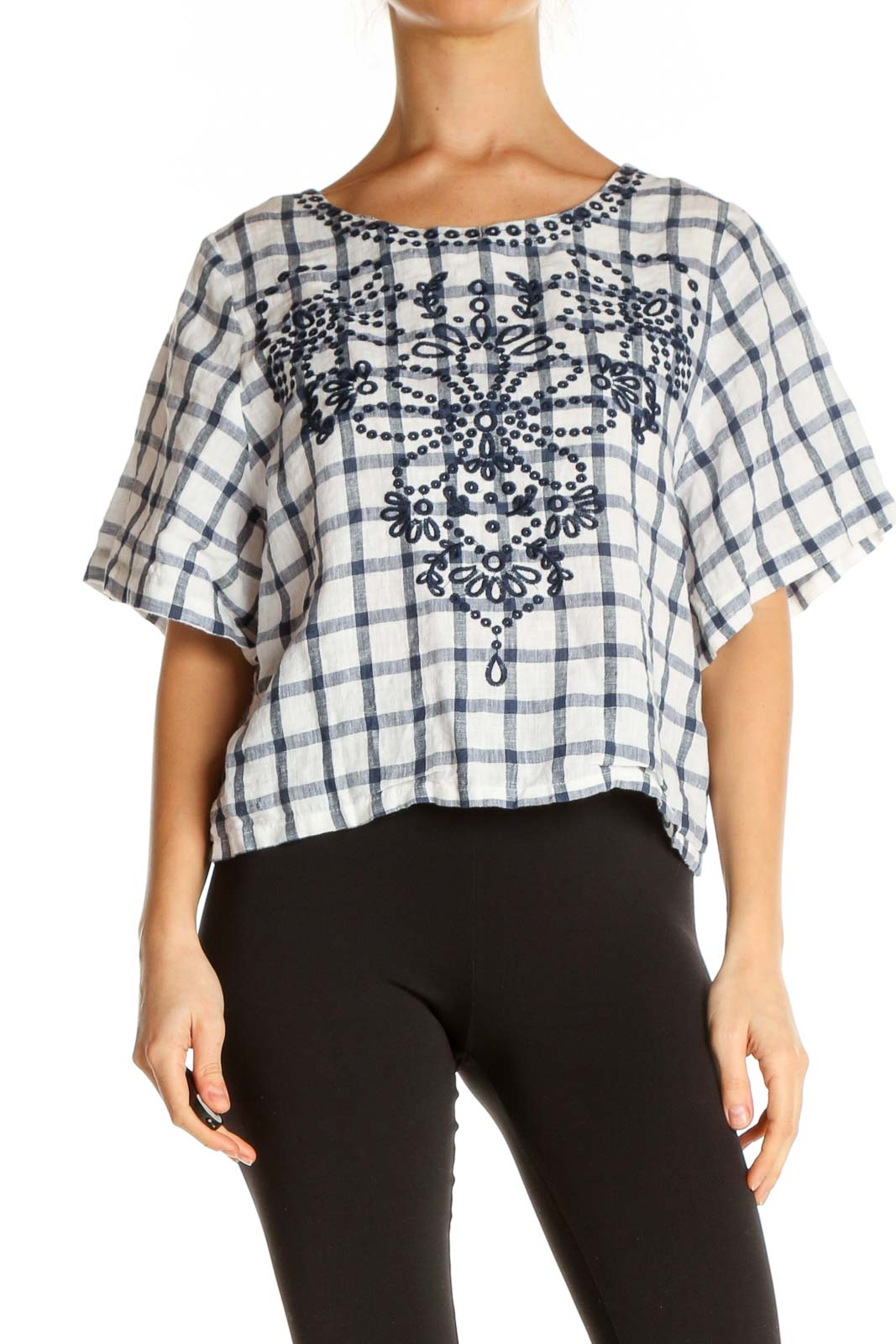 White Checkered Brunch Blouse Front