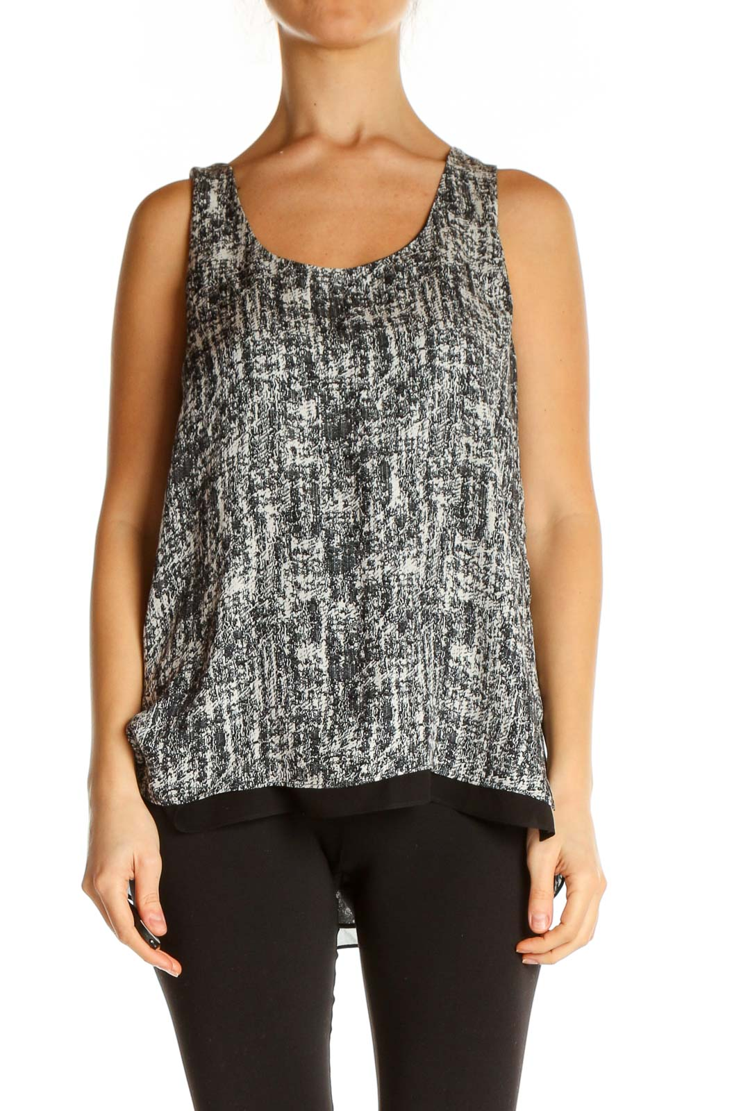Gray Printed Chic Tank Top Front
