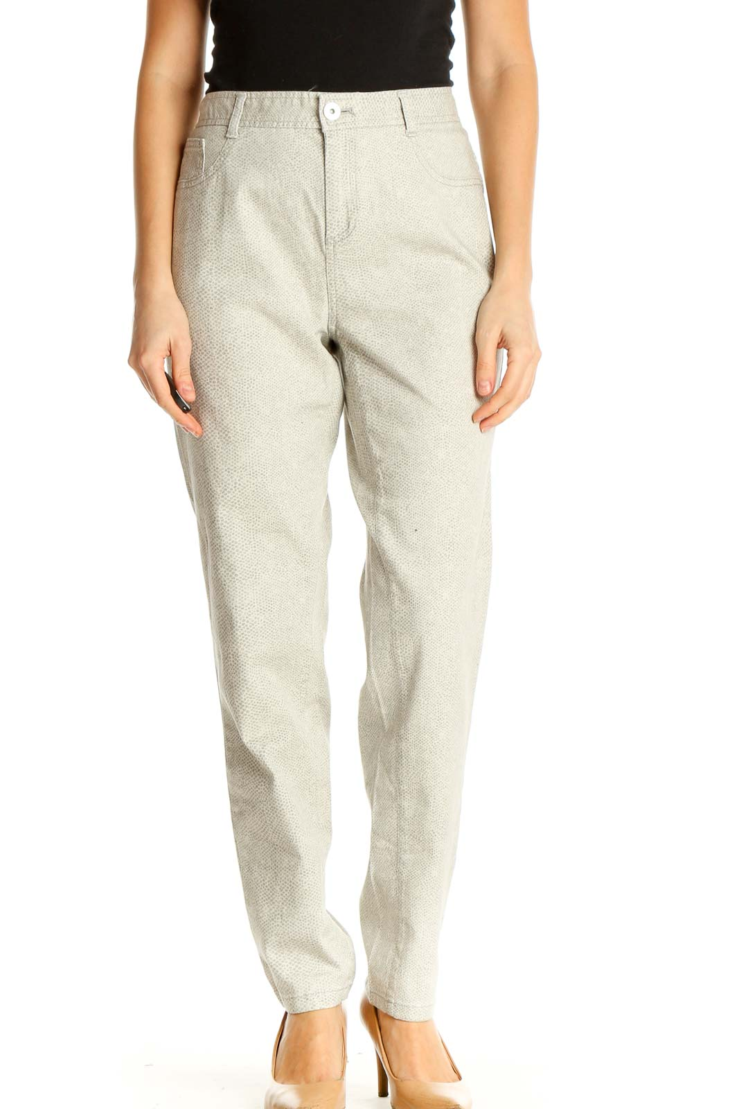 Beige Printed All Day Wear Trousers Front