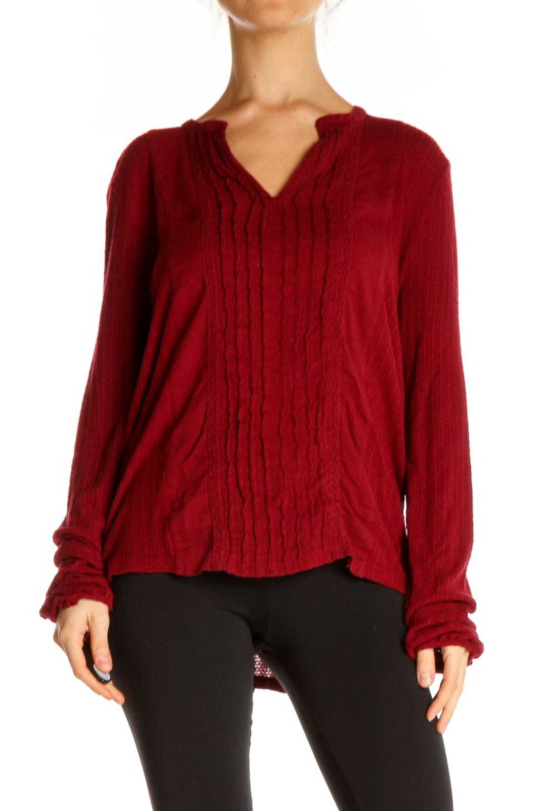 Red Solid All Day Wear Top Front
