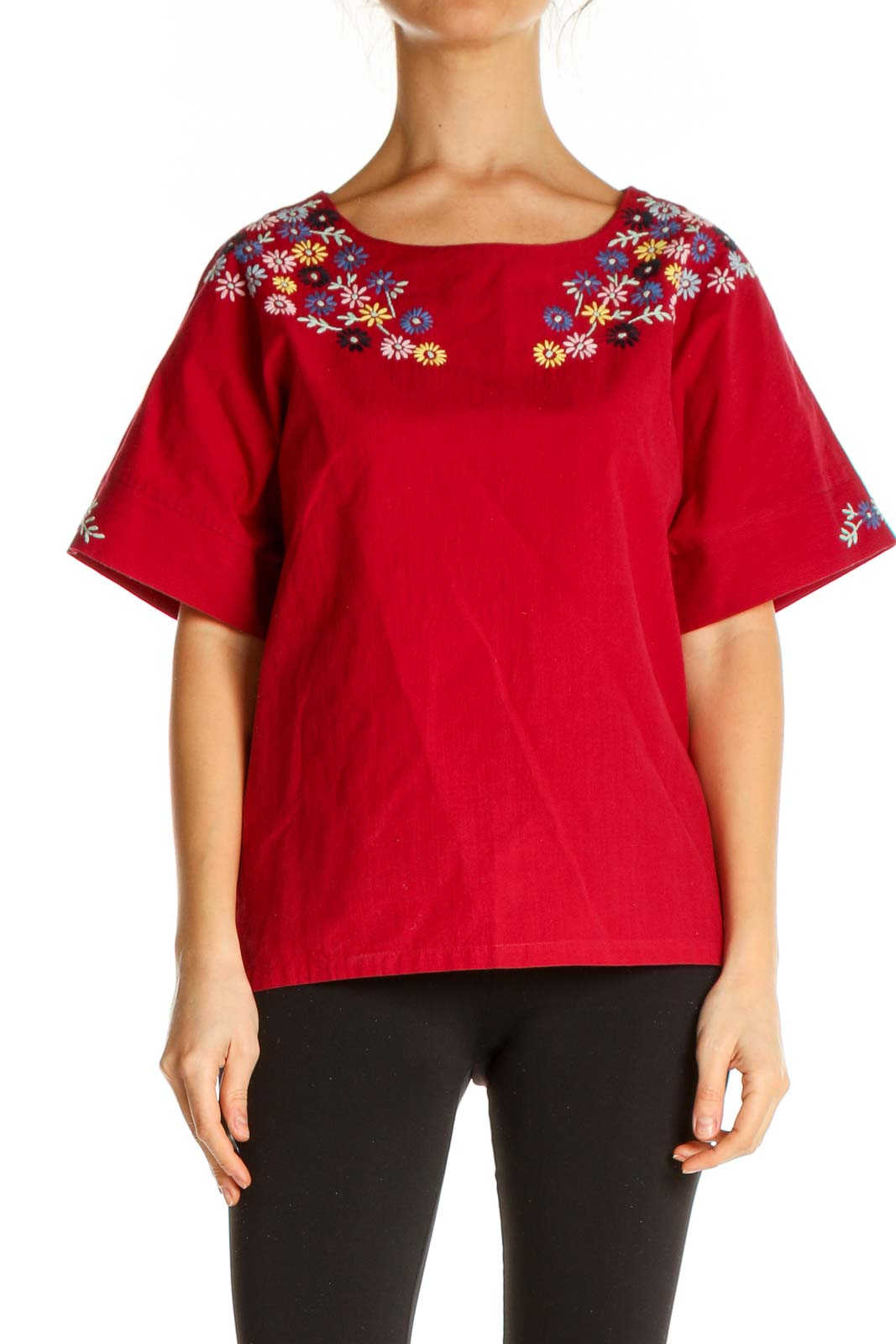 Red Solid All Day Wear Blouse Front