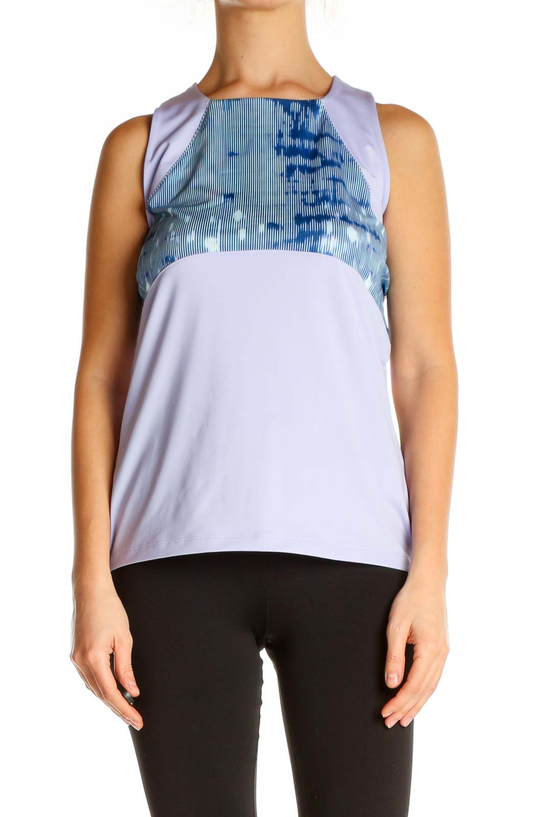 Purple Printed Activewear Blouse Front