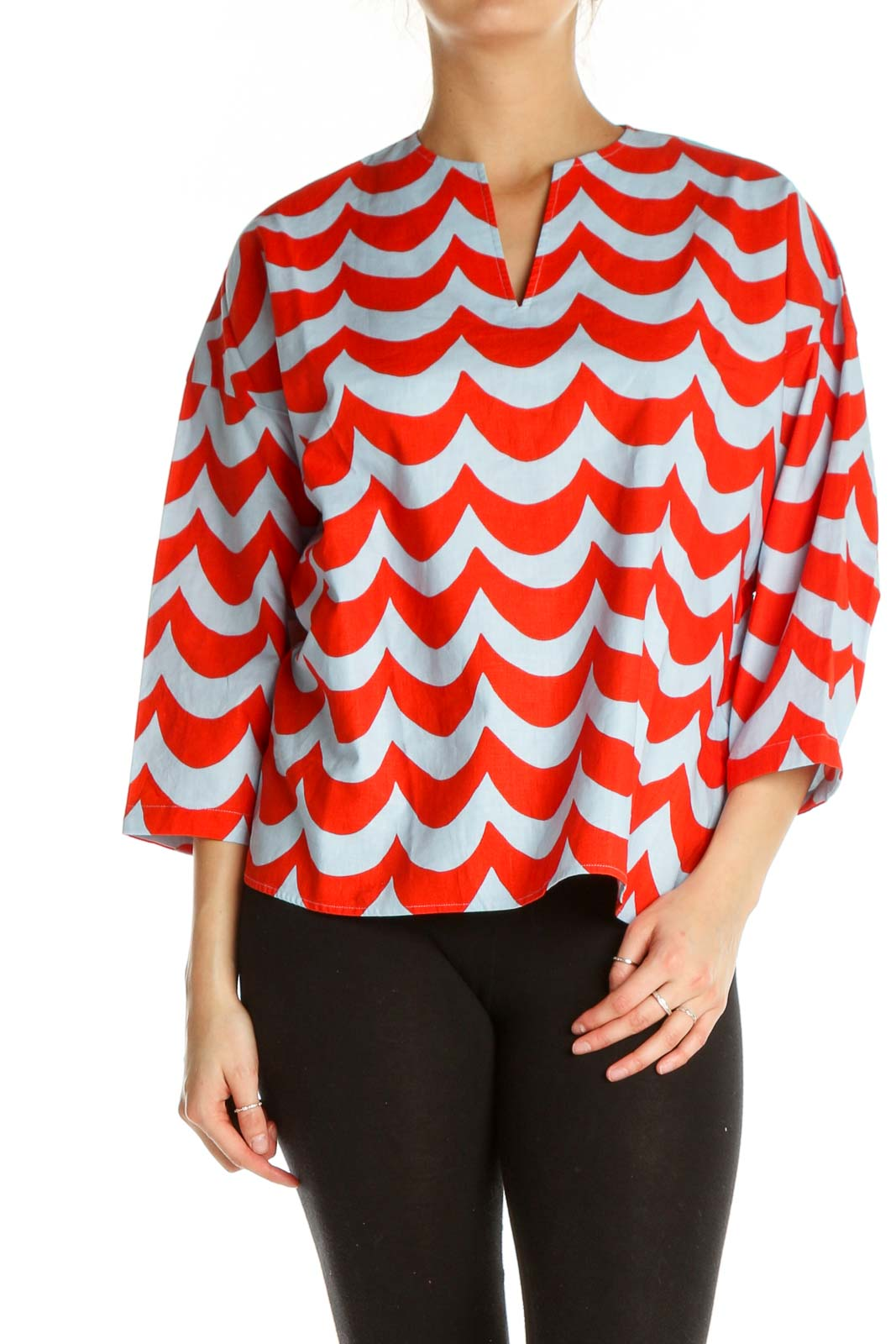 Red Chevron All Day Wear Blouse Front