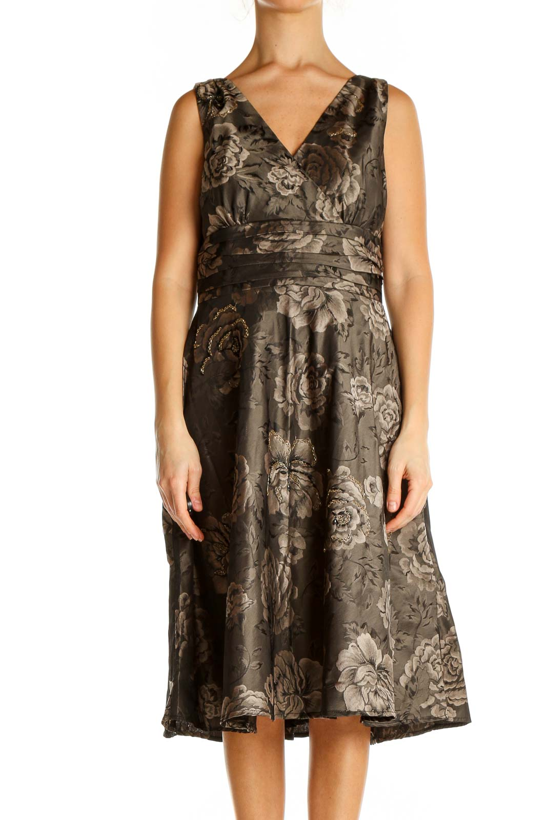 Brown Floral Print Classic Fit & Flare Dress Front
