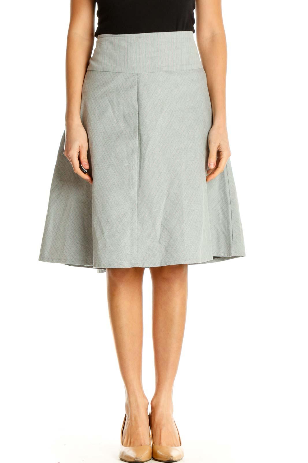 Gray Striped Brunch A-Line Skirt Front