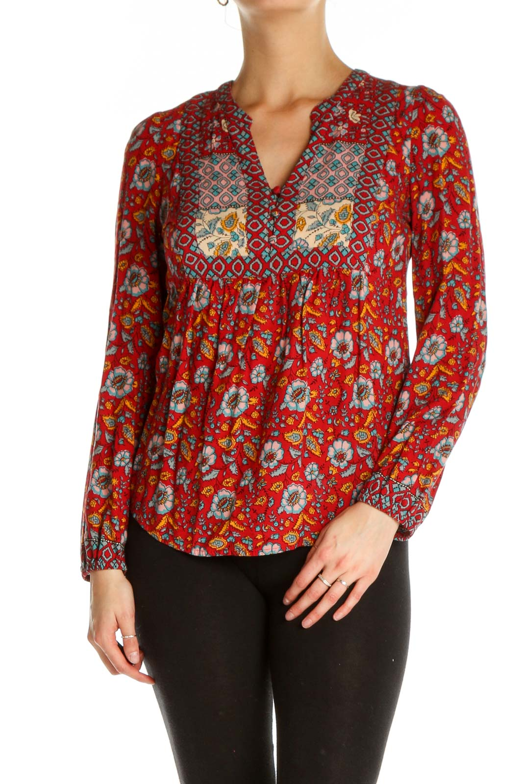 Red Printed Bohemian Blouse Front