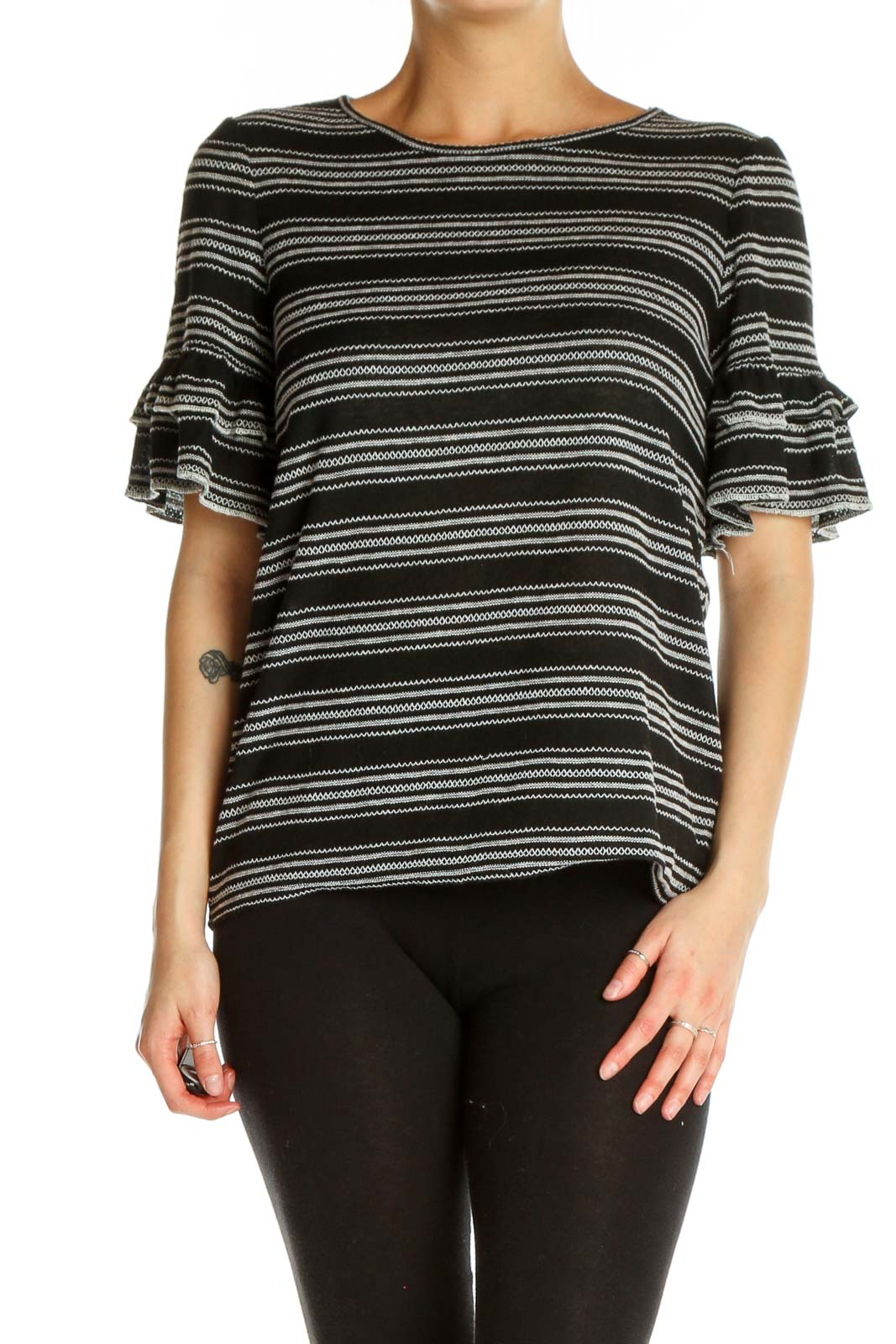Black Striped All Day Wear T-Shirt Front
