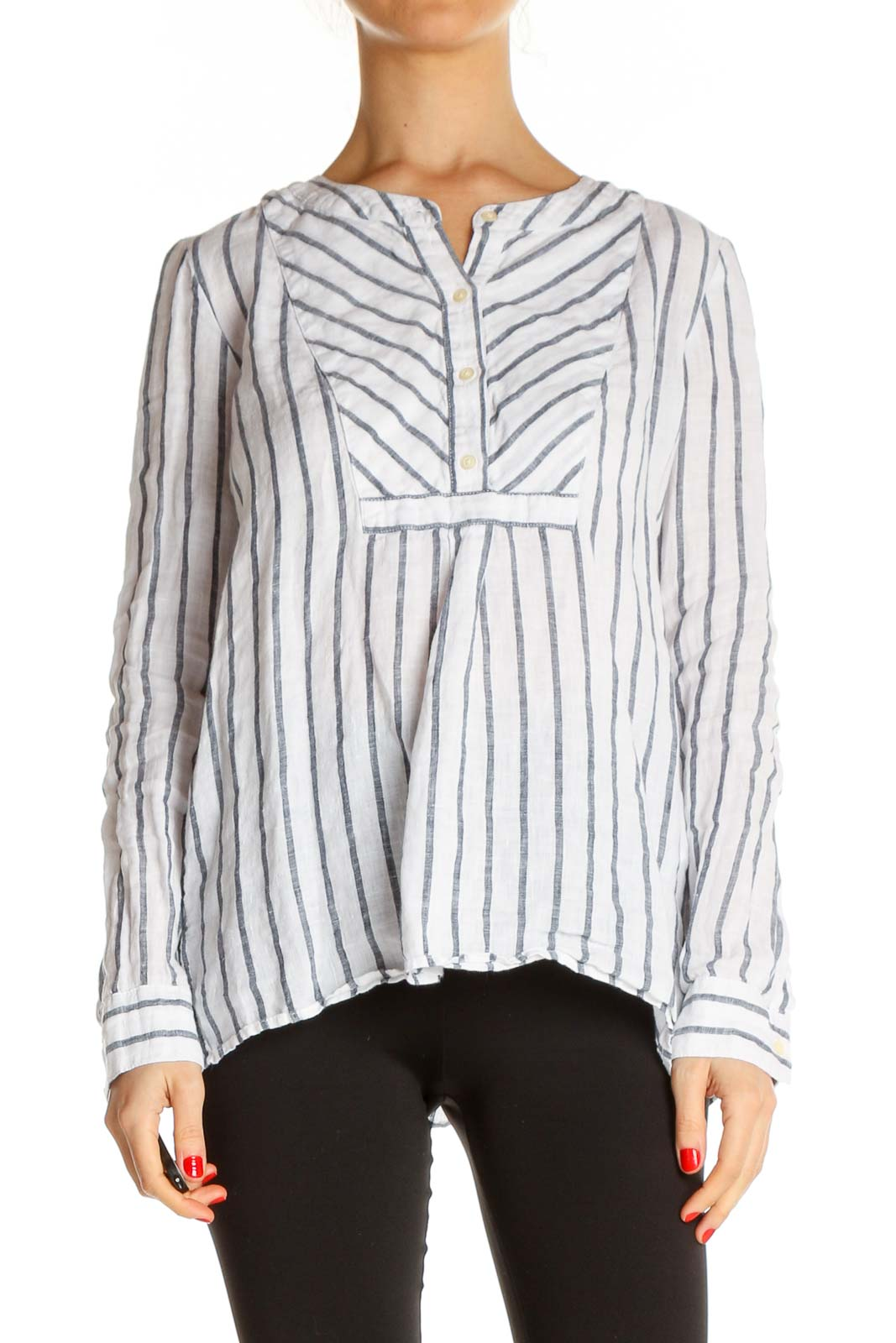 White Striped Work Blouse Front