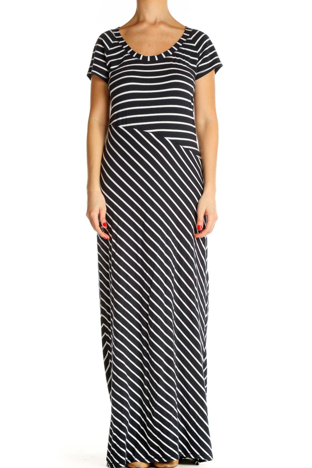 Blue Striped Classic Column Dress Front