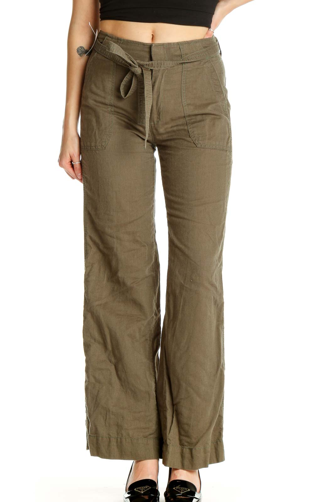 Brown Textured All Day Wear Cargos Pants Front