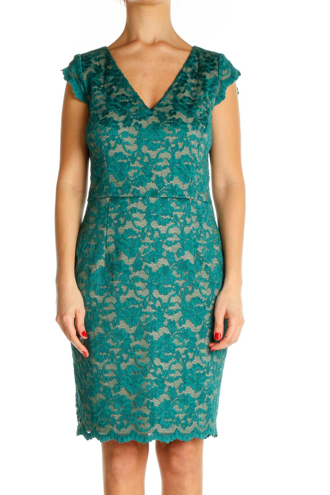 Green Lace Bohemian Sheath Dress Front