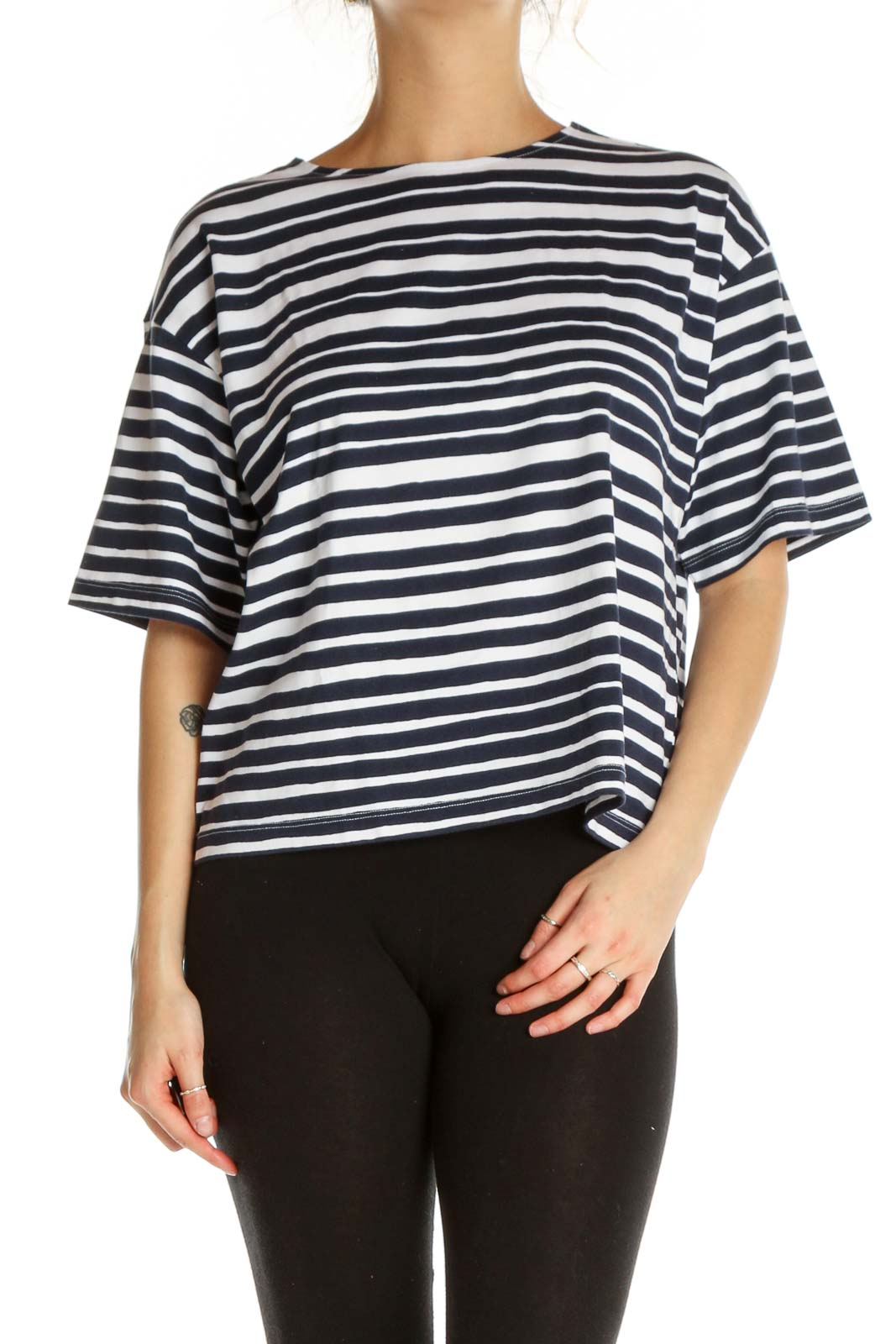 Blue Striped Casual T-Shirt Front