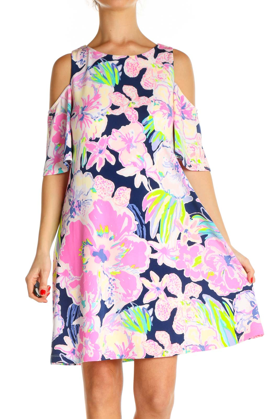 Pink Floral Print Holiday Fit & Flare Dress Front