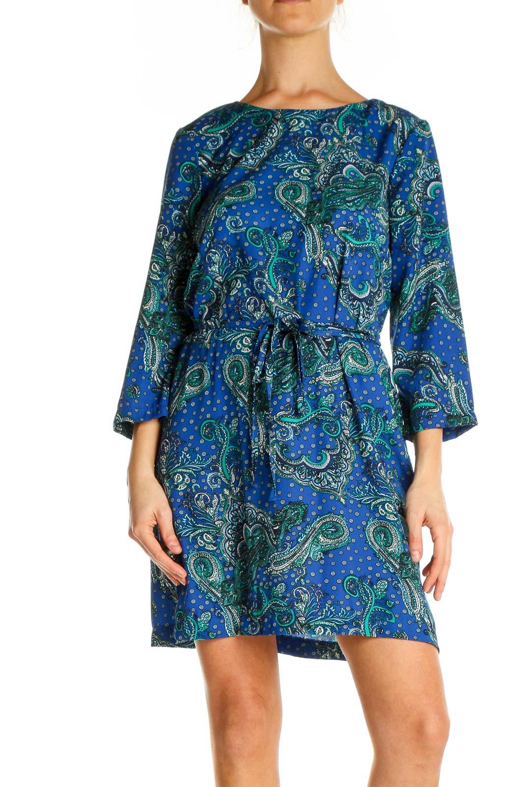 Blue Paisley Day Fit & Flare Dress Front