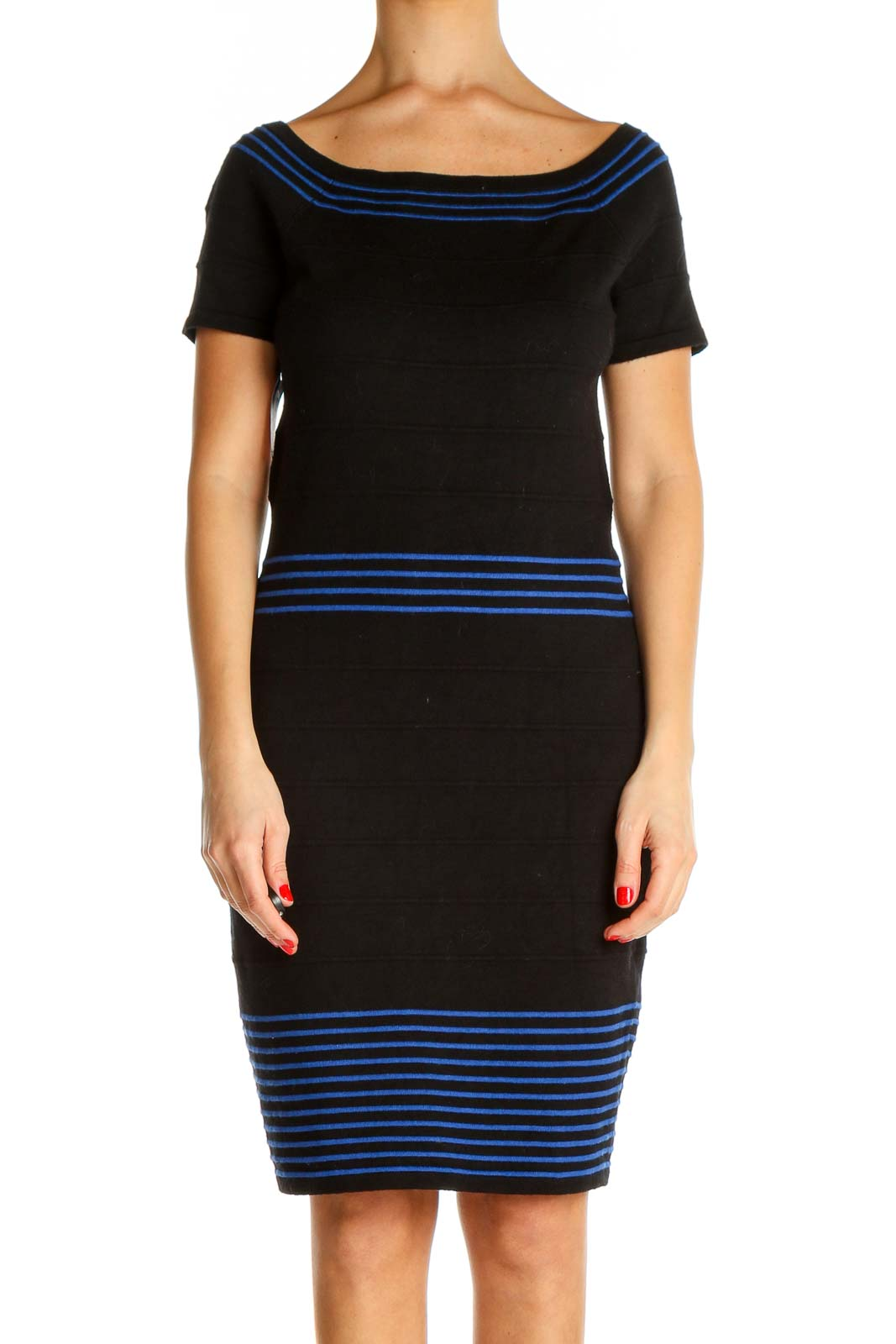 Black Striped Classic Sheath Dress Front