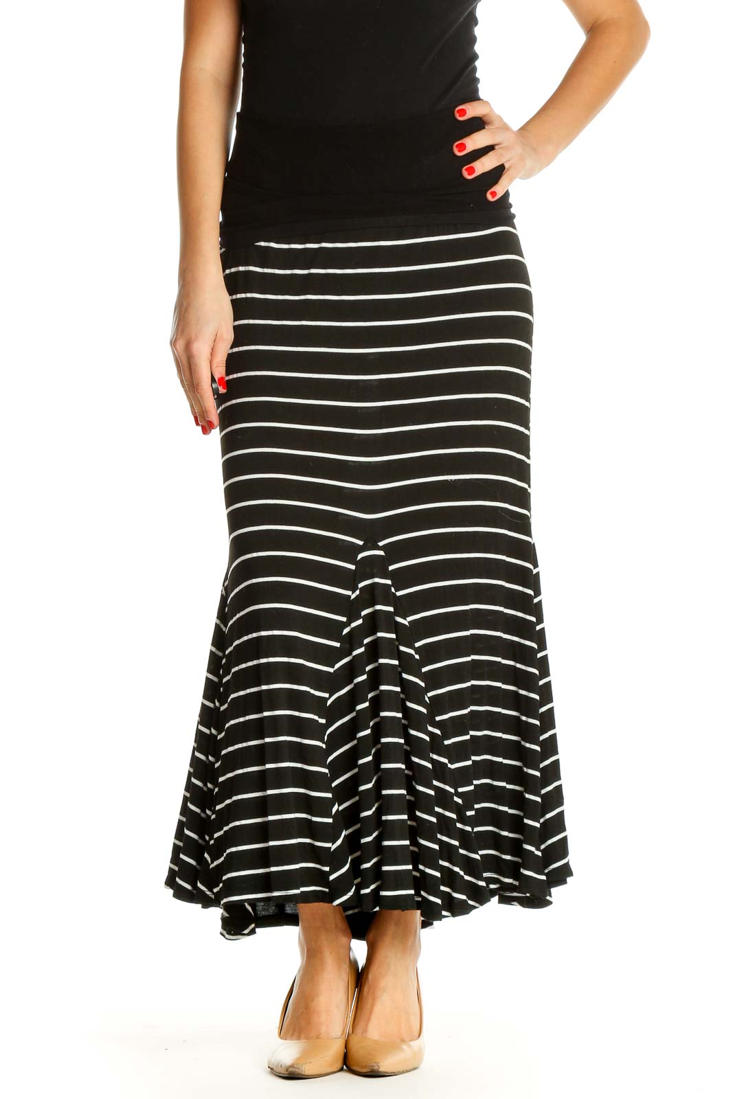 Black Striped Casual Flared Skirt Front