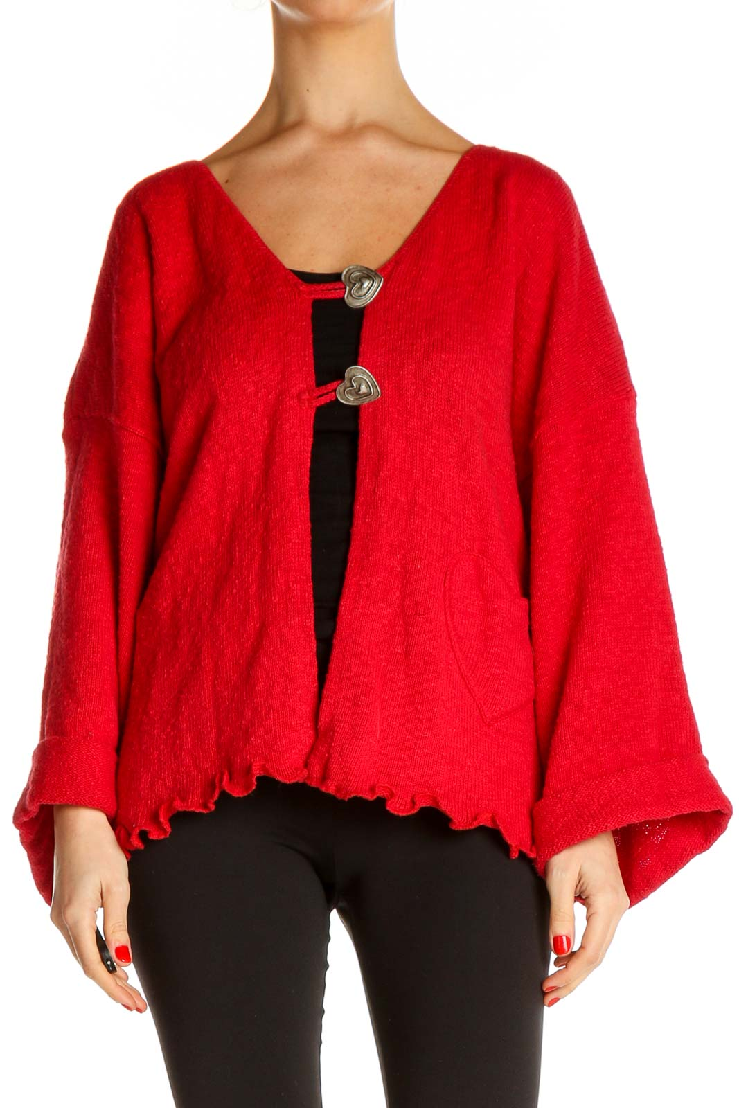 Red Cardigan Front