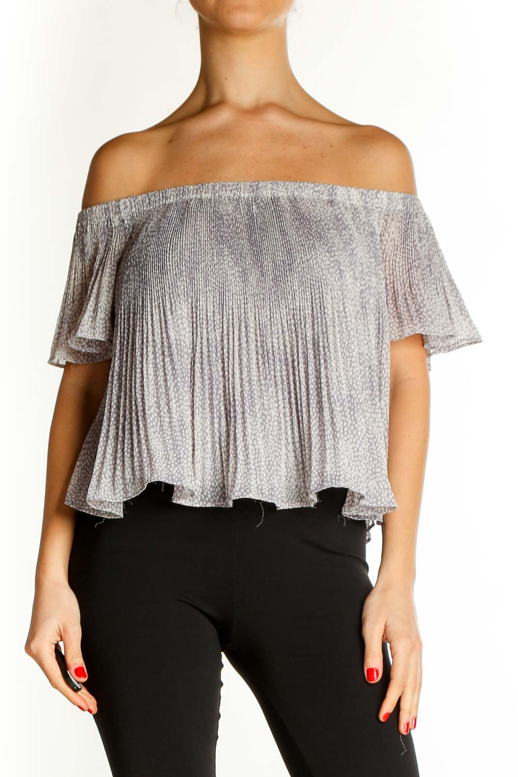 Gray Textured Party Blouse Front