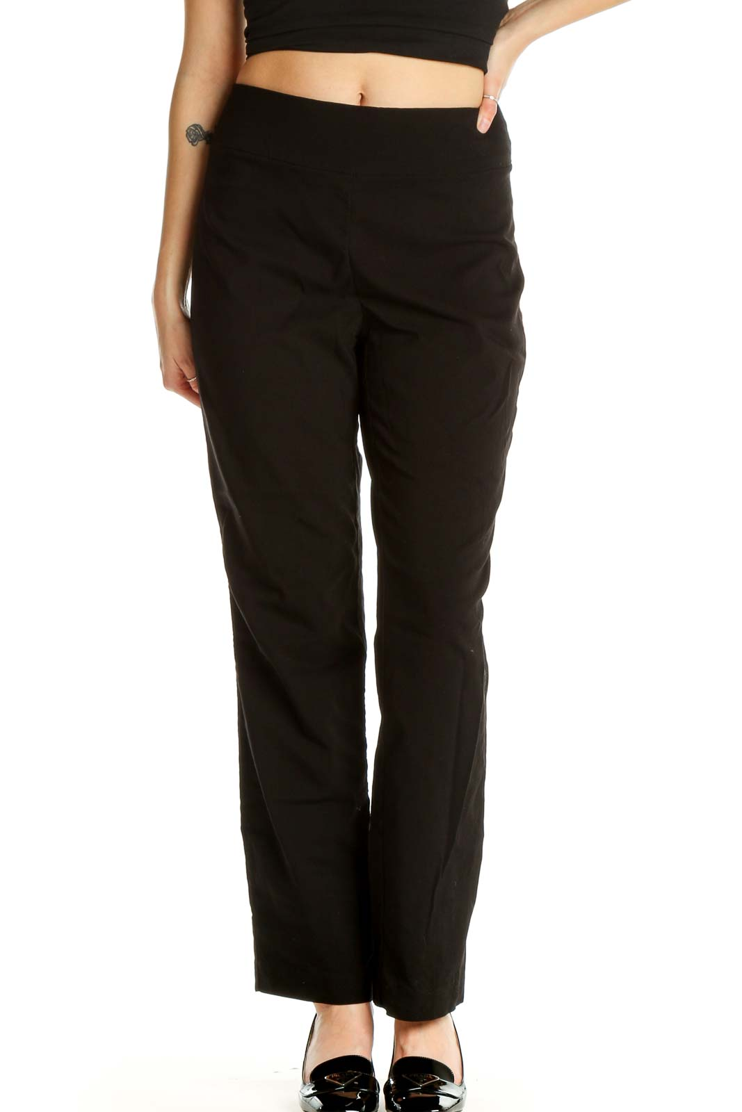 Black Solid Brunch Trousers Front