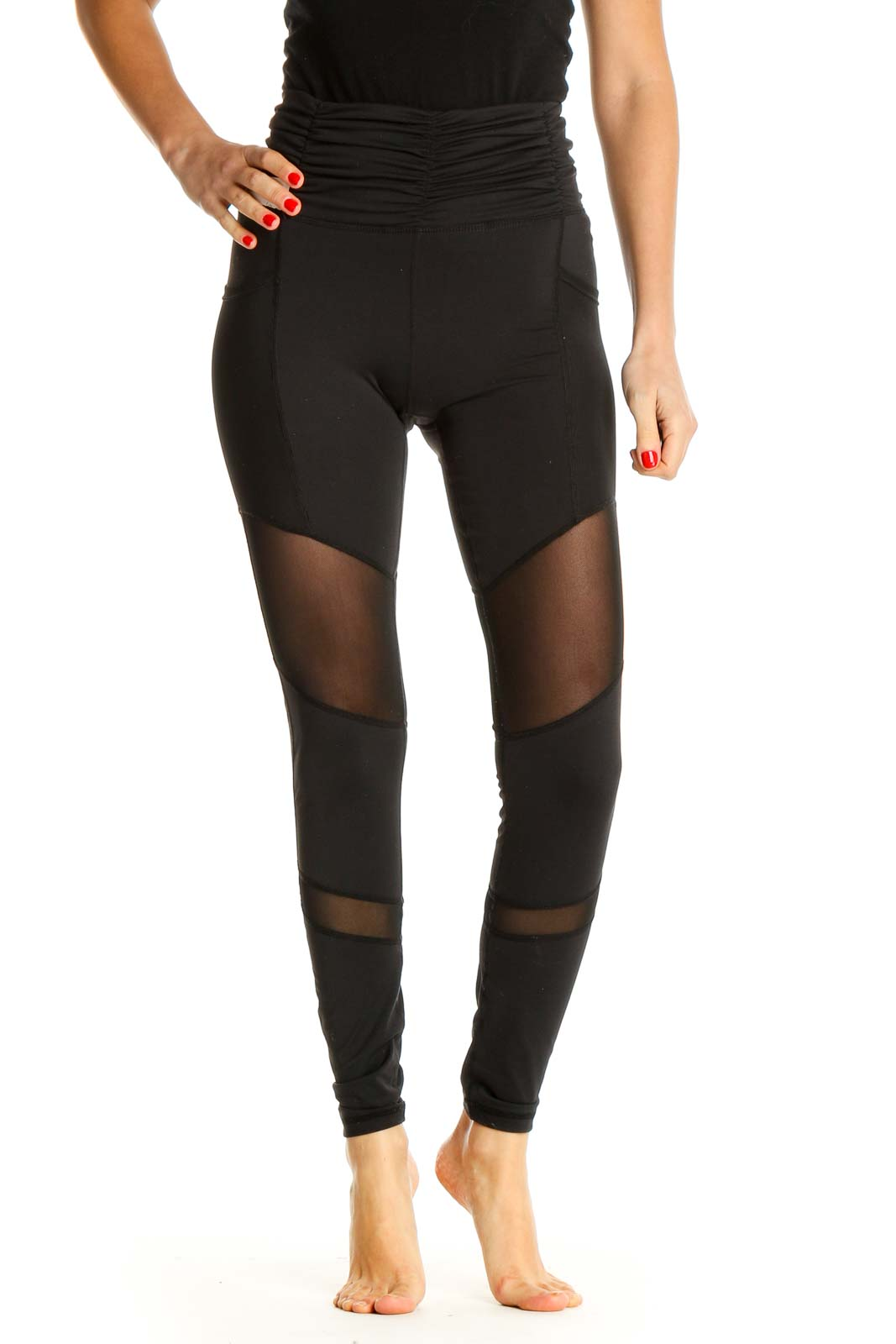 Black Textured Activewear Leggings Front