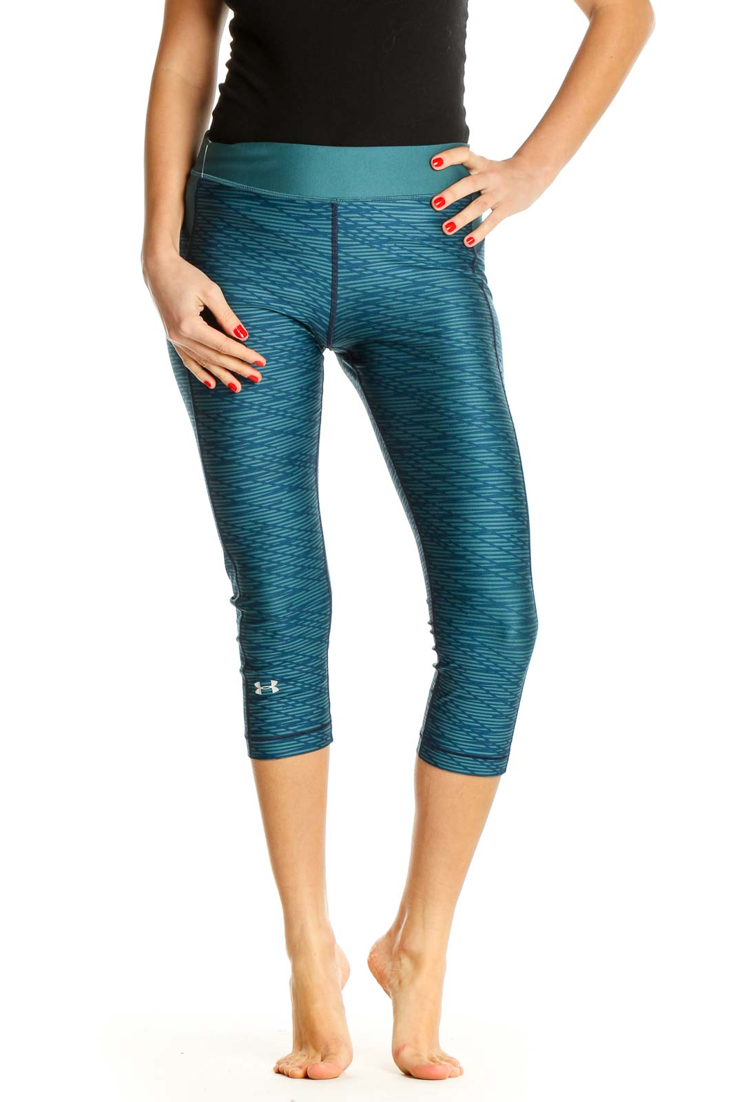 Blue Textured Activewear Leggings Front