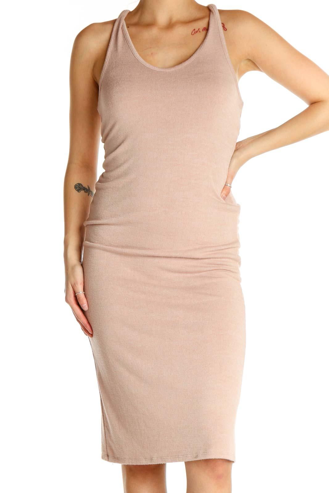 Beige Solid Classic Sheath Dress Front