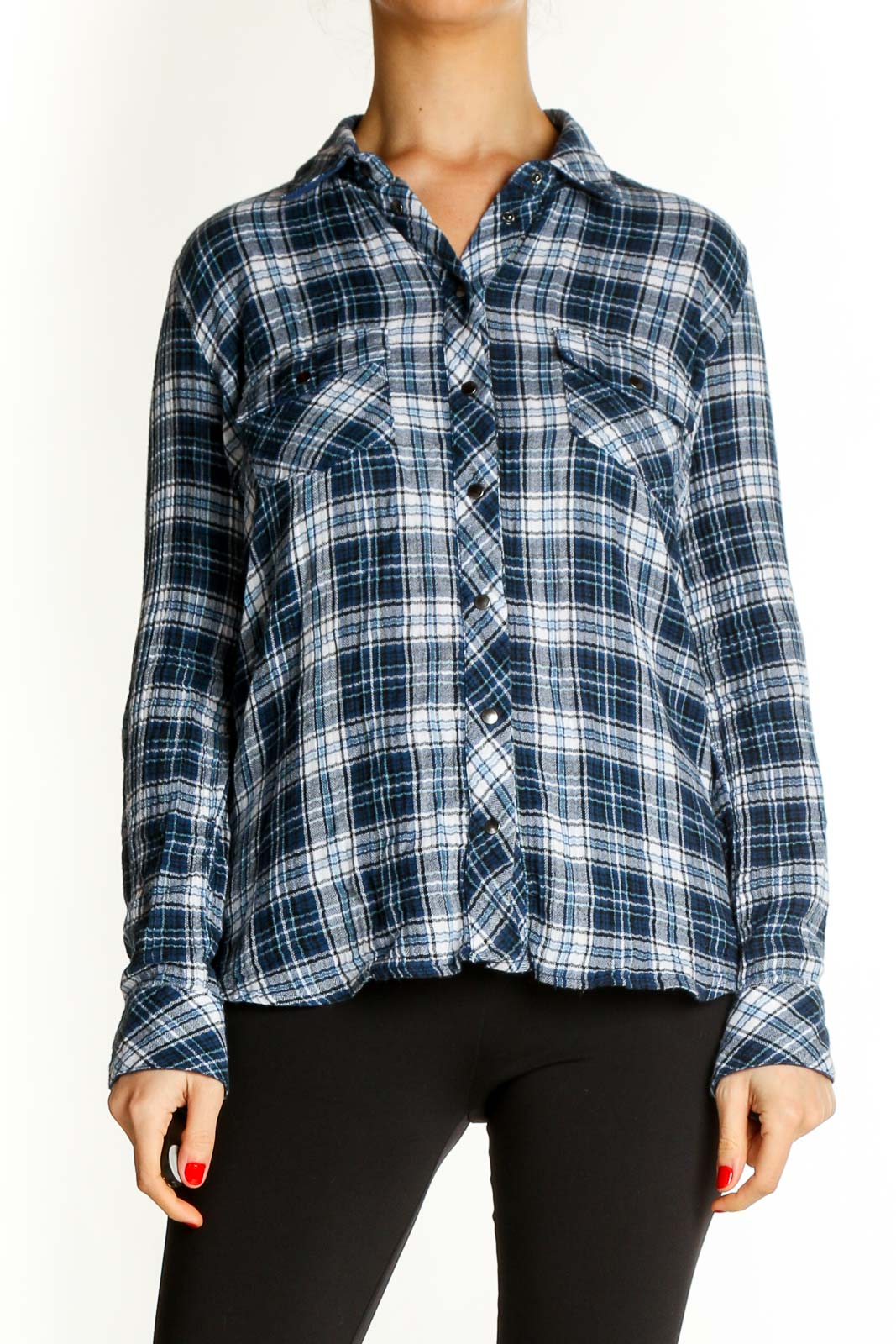 Blue Checkered Casual Shirt Front