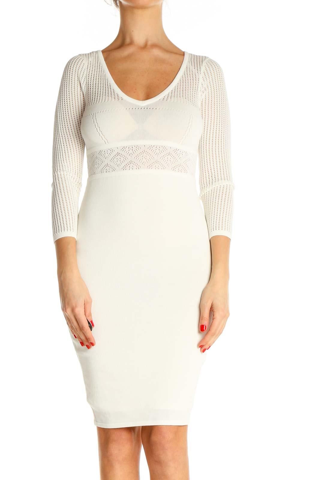 Beige Graphic Print Classic Sheath Dress Front