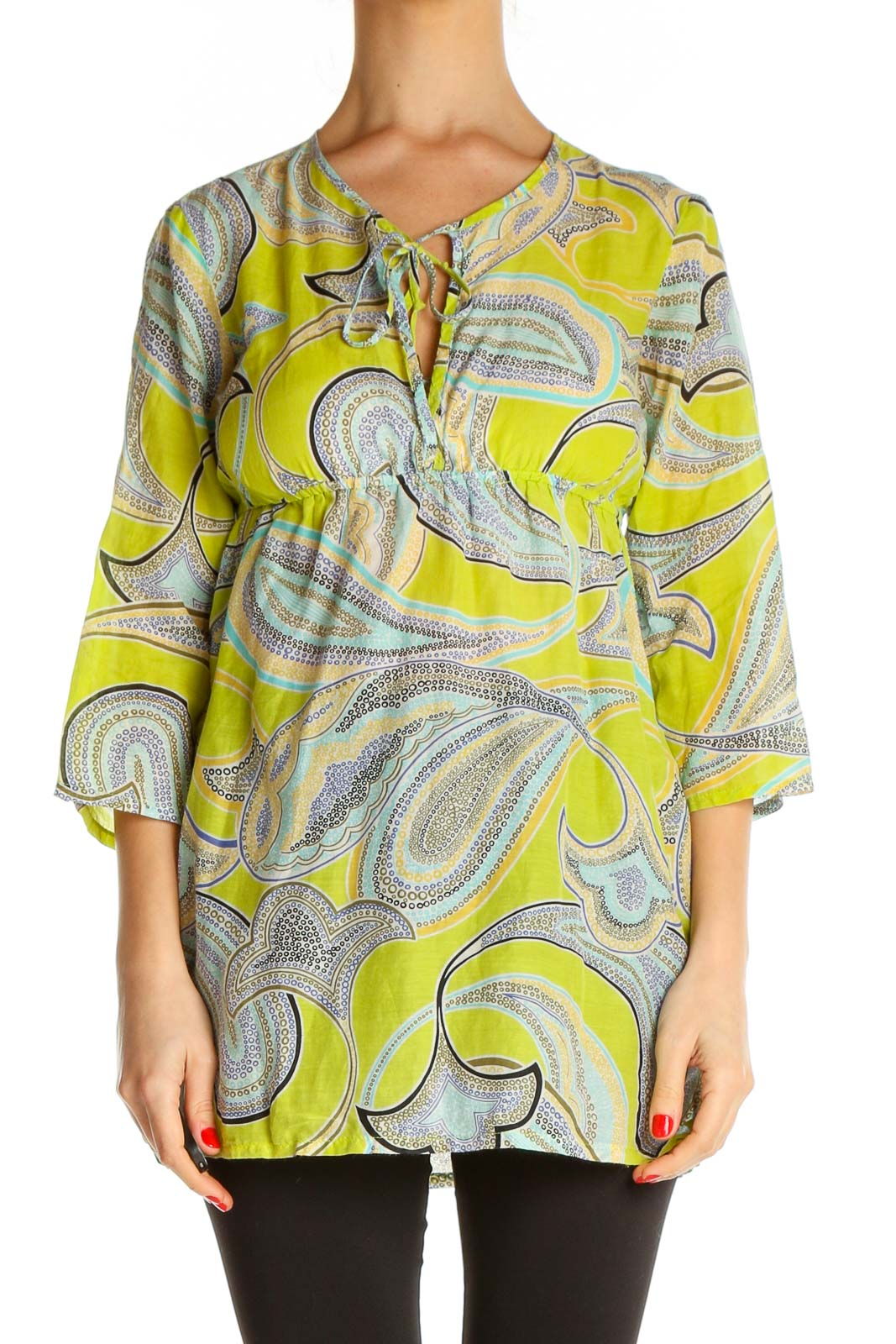 Green Paisley All Day Wear Blouse Front