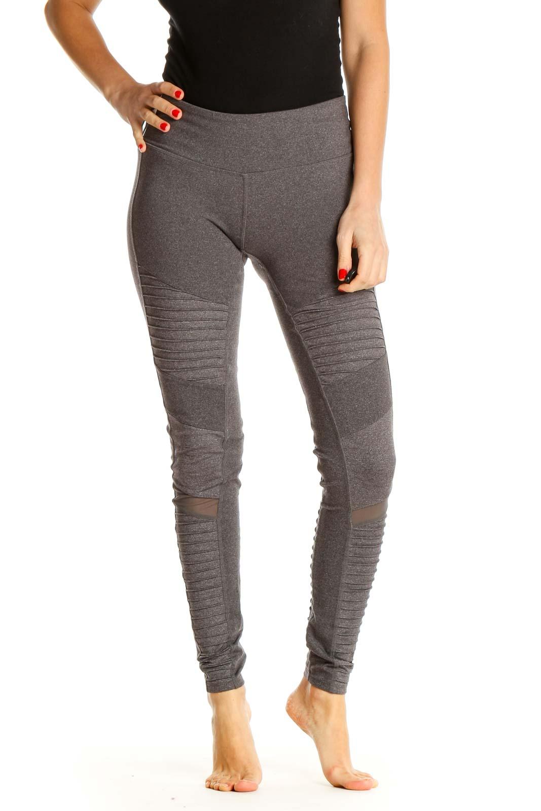 Gray Textured Activewear Leggings Front