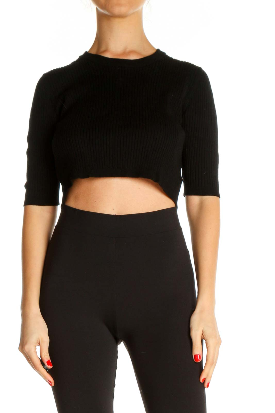 Black Solid Chic Top Front