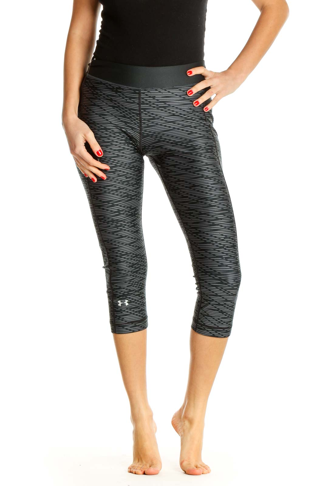 Gray Printed Activewear Leggings Front